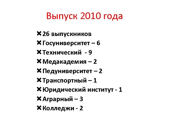 Выпуск 2010 года 26 выпускников Госуниверситет – 6 Технический - 9 Медакадемия – 2