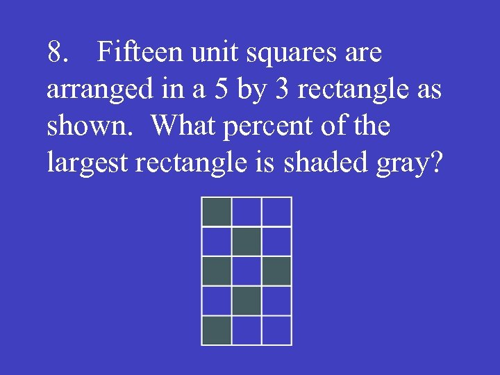 8. Fifteen unit squares are arranged in a 5 by 3 rectangle as shown.