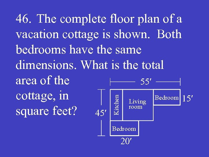 Kitchen 46. The complete floor plan of a vacation cottage is shown. Both bedrooms