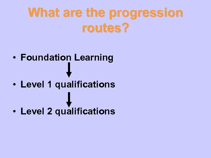 What are the progression routes? • Foundation Learning • Level 1 qualifications • Level