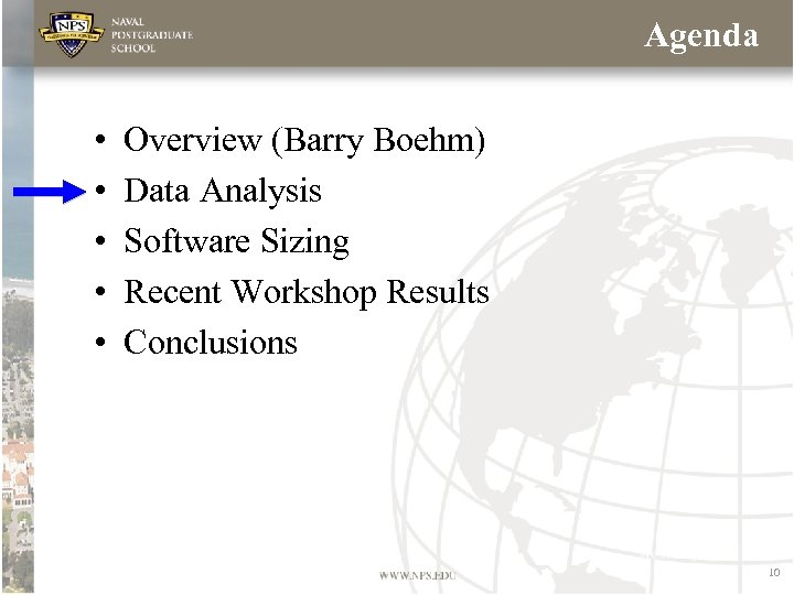 Agenda • • • Overview (Barry Boehm) Data Analysis Software Sizing Recent Workshop Results