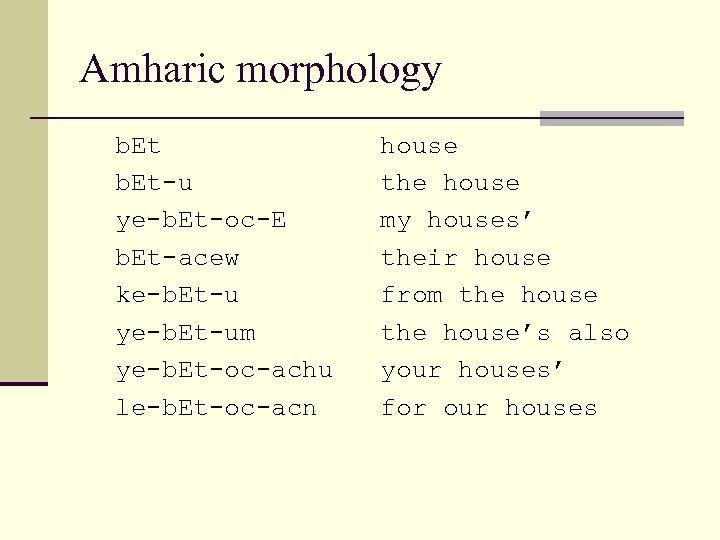 Amharic morphology b. Et house b. Et-u the house ye-b. Et-oc-E my houses' b.