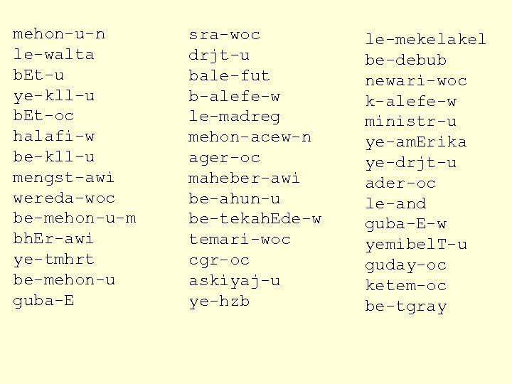 mehon-u-n le-walta b. Et-u ye-kll-u b. Et-oc halafi-w be-kll-u mengst-awi wereda-woc be-mehon-u-m bh. Er-awi