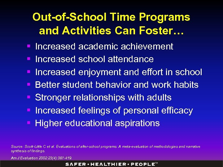 Out-of-School Time Programs and Activities Can Foster… § § § § Increased academic achievement