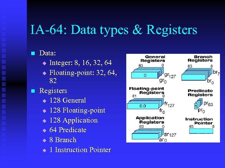 IA-64: Data types & Registers n n Data: u Integer: 8, 16, 32, 64