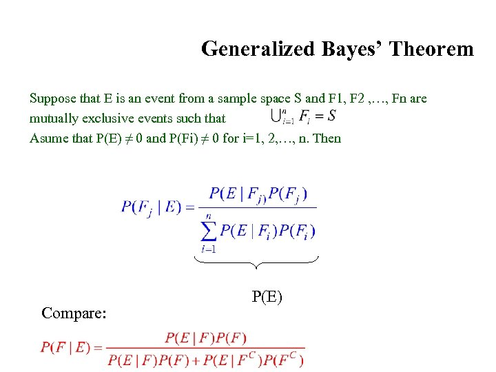 Generalized Bayes' Theorem Suppose that E is an event from a sample space S