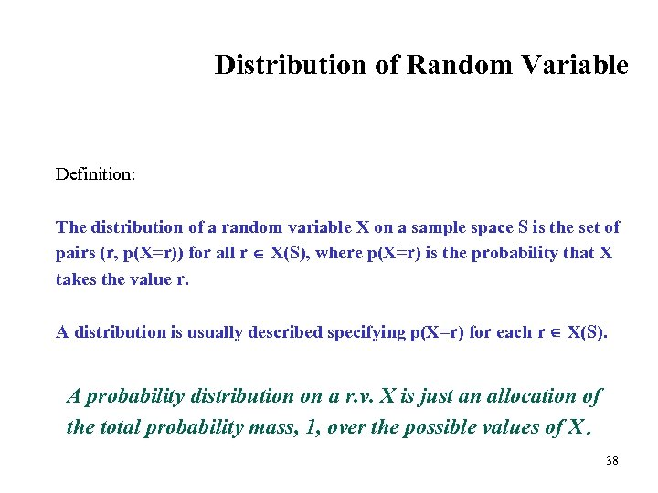 Distribution of Random Variable Definition: The distribution of a random variable X on a