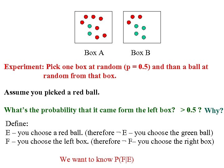 Box A Box B Experiment: Pick one box at random (p = 0. 5)
