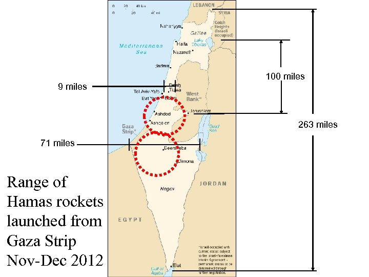 9 miles 100 miles 263 miles 71 miles Range of Hamas rockets launched from