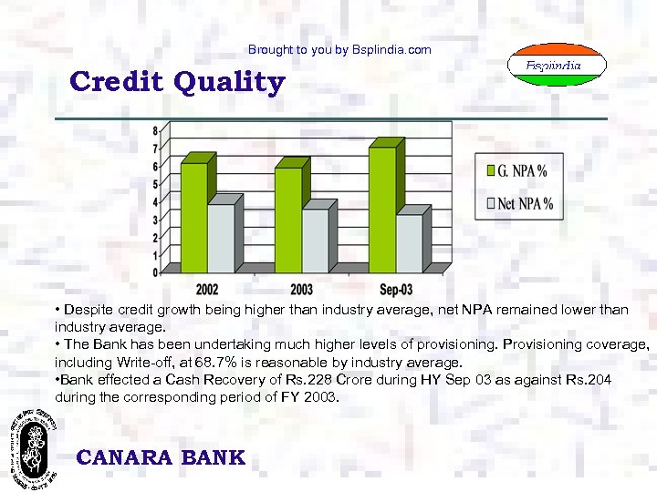 Brought to you by Bsplindia. com Credit Quality • Despite credit growth being higher