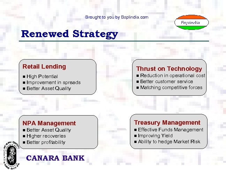 Brought to you by Bsplindia. com Renewed Strategy Retail Lending High Potential n Improvement