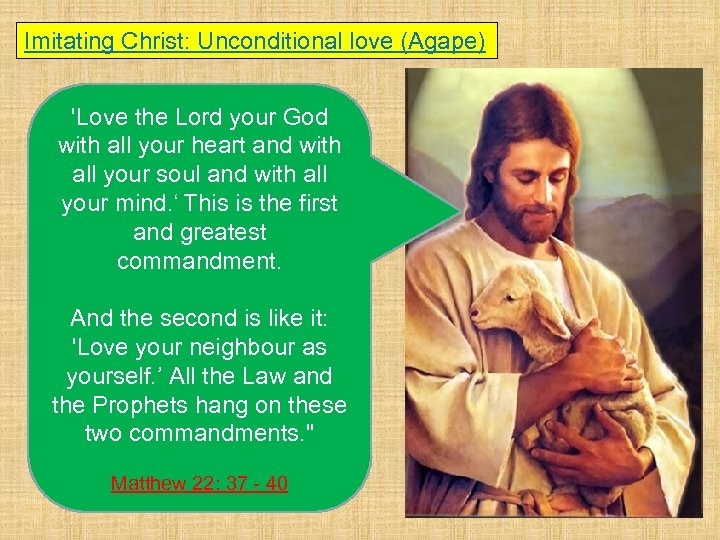 Imitating Christ: Unconditional love (Agape) 'Love the Lord your God with all your heart