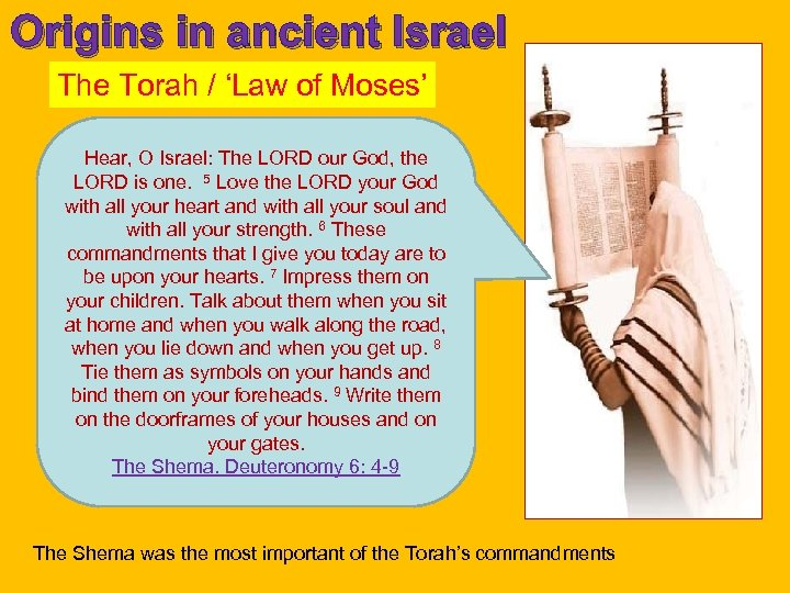 Origins in ancient Israel The Torah / 'Law of Moses' Hear, O Israel: The