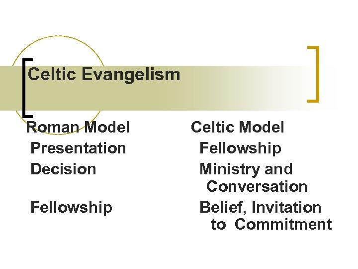 Celtic Evangelism Roman Model Celtic Model Presentation Fellowship Decision Ministry and Conversation Fellowship Belief,