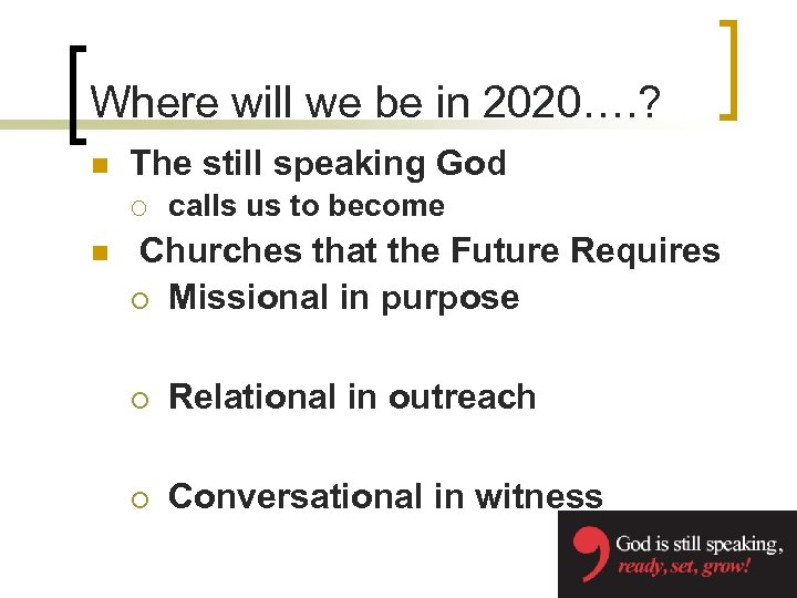 Where will we be in 2020…. ? n The still speaking God ¡ n