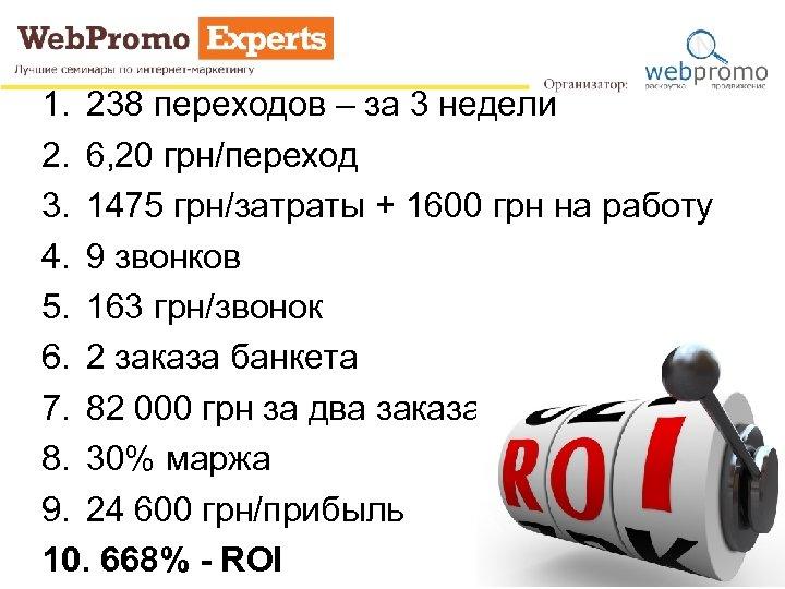 1. 238 переходов – за 3 недели 2. 6, 20 грн/переход 3. 1475 грн/затраты