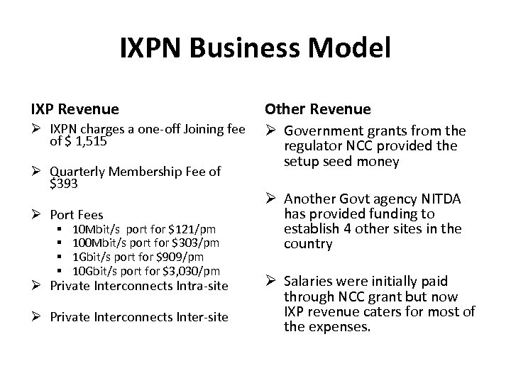 IXPN Business Model IXP Revenue Other Revenue IXPN charges a one-off Joining fee of