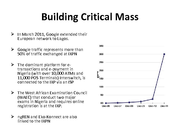 Building Critical Mass In March 2011, Google extended their European network to Lagos. Google