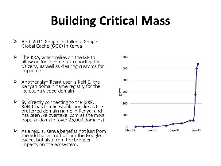 Building Critical Mass April 2011 Google installed a Google Global Cache (GGC) in Kenya