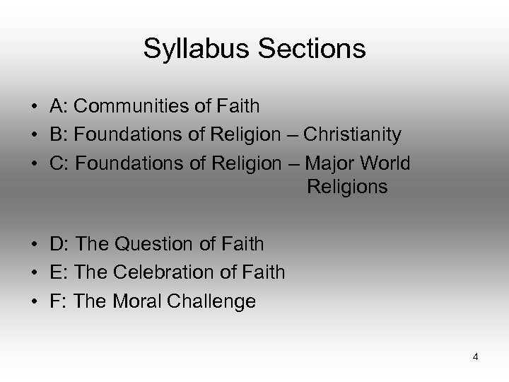 Syllabus Sections • A: Communities of Faith • B: Foundations of Religion – Christianity