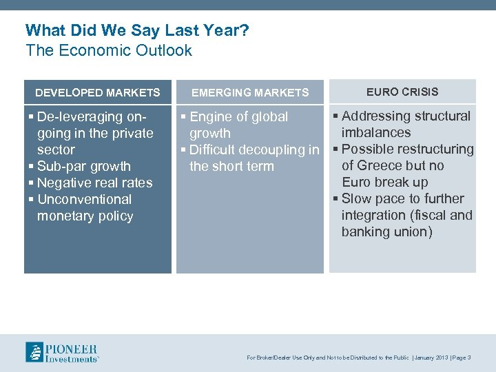 What Did We Say Last Year? The Economic Outlook DEVELOPED MARKETS § De leveraging