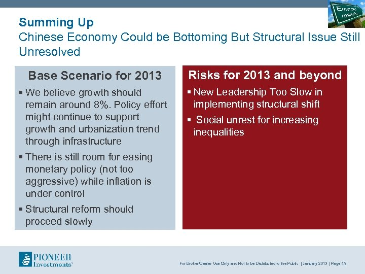 Summing Up Chinese Economy Could be Bottoming But Structural Issue Still Unresolved Base Scenario