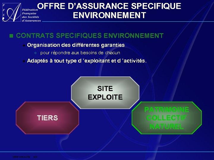 OFFRE D'ASSURANCE SPECIFIQUE ENVIRONNEMENT n CONTRATS SPECIFIQUES ENVIRONNEMENT l Organisation des différentes garanties v