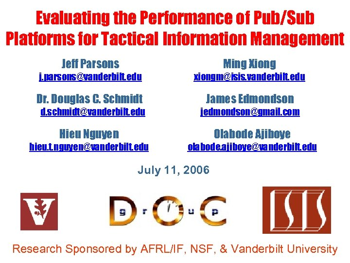 Evaluating the Performance of Pub/Sub Platforms for Tactical Information Management Jeff Parsons Ming Xiong