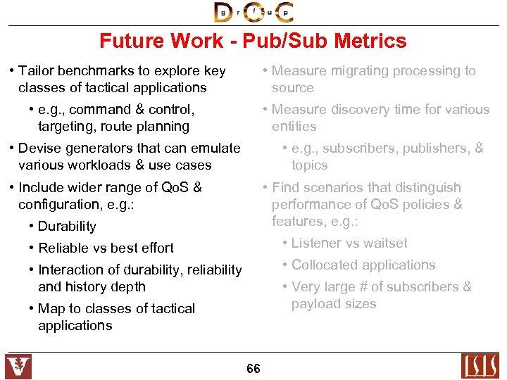 Future Work - Pub/Sub Metrics • Tailor benchmarks to explore key classes of tactical