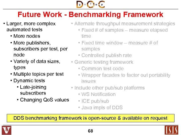 Future Work - Benchmarking Framework • Larger, more complex • Alternate throughput measurement strategies