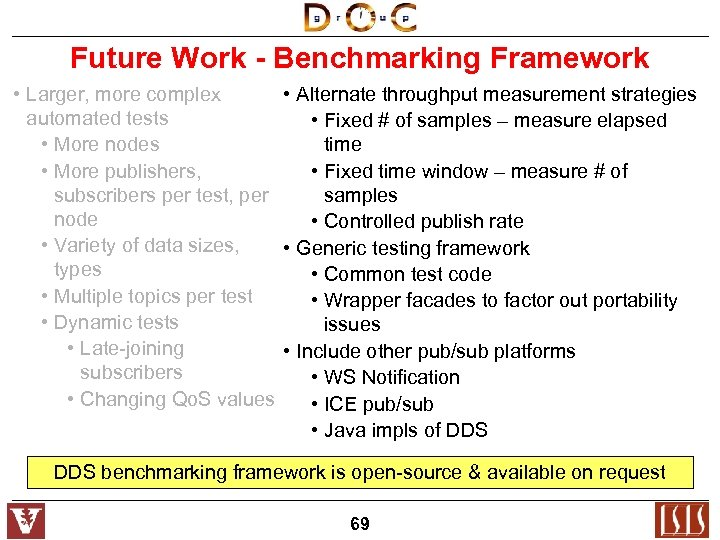 Future Work - Benchmarking Framework • Larger, more complex • Alternate throughput measurement strategies