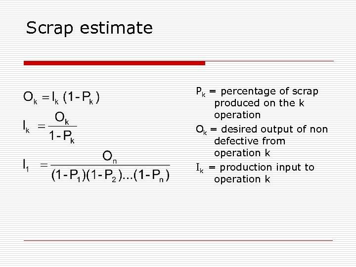 Scrap estimate Pk = percentage of scrap produced on the k operation Ok =