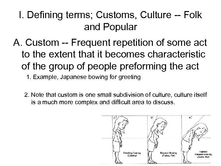 I. Defining terms; Customs, Culture -- Folk and Popular A. Custom -- Frequent repetition