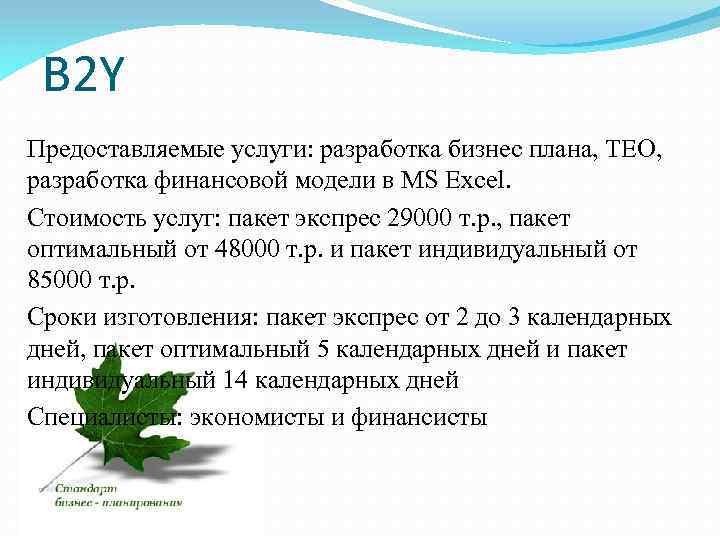B 2 Y Предоставляемые услуги: разработка бизнес плана, ТЕО, разработка финансовой модели в MS