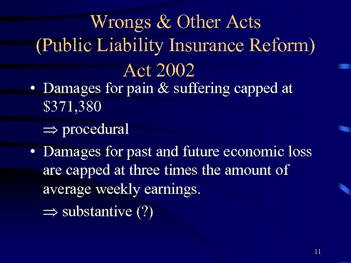 Wrongs & Other Acts (Public Liability Insurance Reform) Act 2002 • Damages for pain