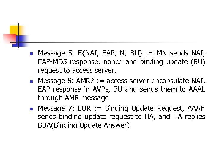 n n n Message 5: E{NAI, EAP, N, BU} : = MN sends NAI,