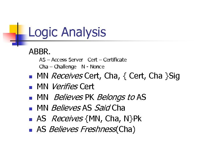 Logic Analysis ABBR. AS – Access Server Cert – Certificate Cha – Challenge N