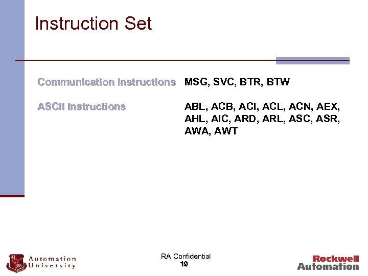 Instruction Set Communication Instructions MSG, SVC, BTR, BTW ASCII Instructions ABL, ACB, ACI, ACL,