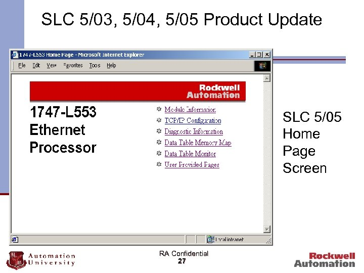 SLC 5/03, 5/04, 5/05 Product Update SLC 5/05 Home Page Screen RA Confidential 27