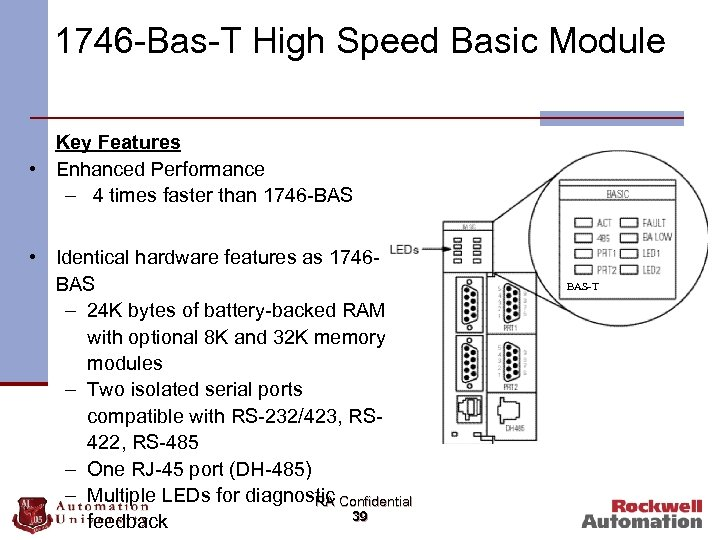 1746 -Bas-T High Speed Basic Module Key Features • Enhanced Performance – 4 times