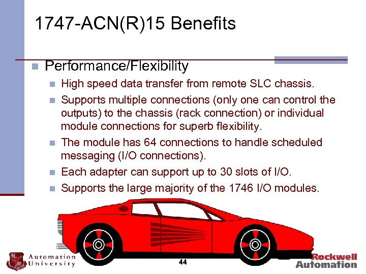 1747 -ACN(R)15 Benefits n Performance/Flexibility n n n High speed data transfer from remote