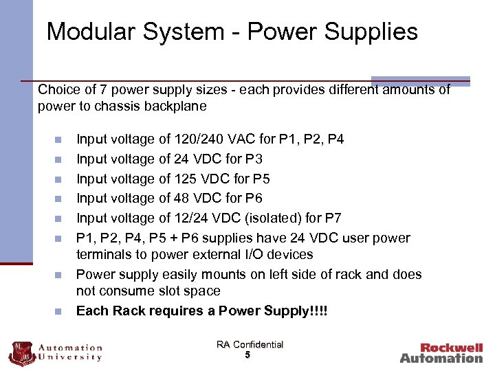 Modular System - Power Supplies Choice of 7 power supply sizes - each provides