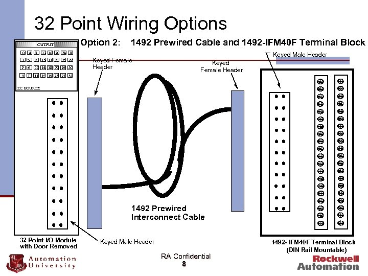 32 Point Wiring Options OUTPUT 0 4 8 Option 2: 1492 Prewired Cable and