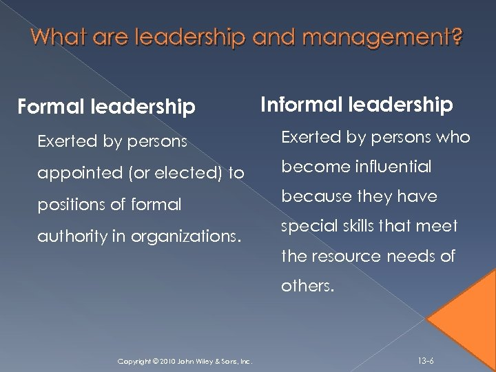 What are leadership and management? Formal leadership Informal leadership Exerted by persons who appointed