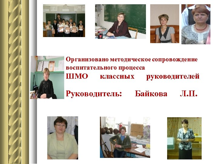 Организовано методическое сопровождение воспитательного процесса ШМО классных Руководитель: руководителей Байкова Л. П.