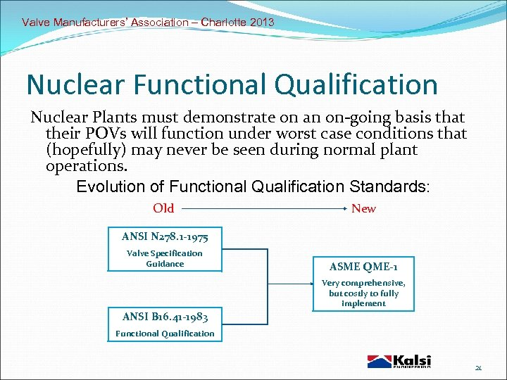 Valve Manufacturers' Association – Charlotte 2013 Nuclear Functional Qualification Nuclear Plants must demonstrate on