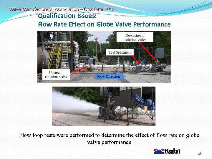 Valve Manufacturers' Association – Charlotte 2013 Qualification Issues: Flow Rate Effect on Globe Valve