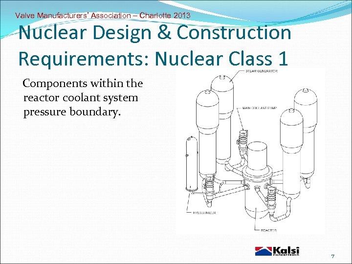 Valve Manufacturers' Association – Charlotte 2013 Nuclear Design & Construction Requirements: Nuclear Class 1