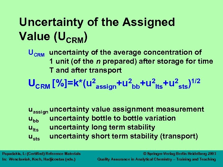 Uncertainty of the Assigned Value (UCRM) UCRM uncertainty of the average concentration of 1