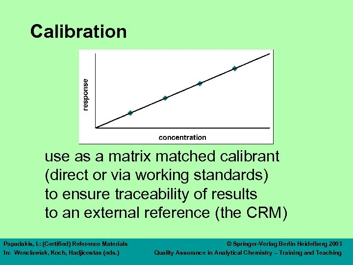 Calibration use as a matrix matched calibrant (direct or via working standards) to ensure